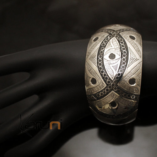 African Bracelet Cuff Ethnic Jewelry Mix Silver Horn Engraved Filigree Art Deco 02