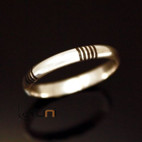 Ethnic Engagement Ring Wedding Jewelry Sterling Silver Ebony Men/Women Tuareg Tribe Design 05 KARUNI