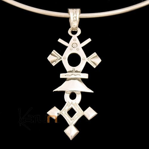 African Southern Cross Necklace Pendant Sterling Silver   from Krip-Krip Niger Tuareg Tribe Design 01