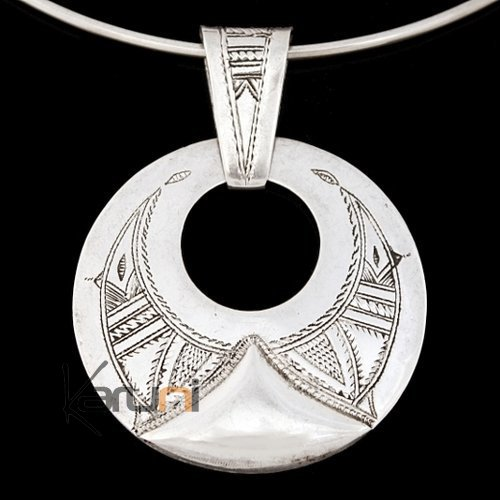African Necklace Pendant Sterling Silver Ethnic Jewelry Engraved Round Tuareg Tribe Design 05