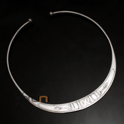 Ethnic Choker Necklace Sterling Silver Jewelry Engraved Large Torque Tuareg Tribe Design 01