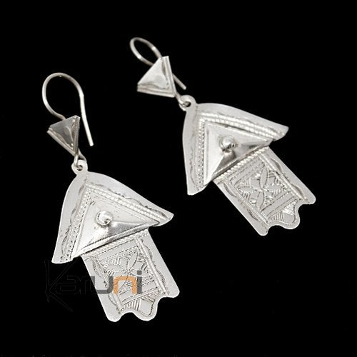 Ethnic Earrings Sterling Silver Jewelry Fatma Hand Berber Tuareg Tribe Design 73