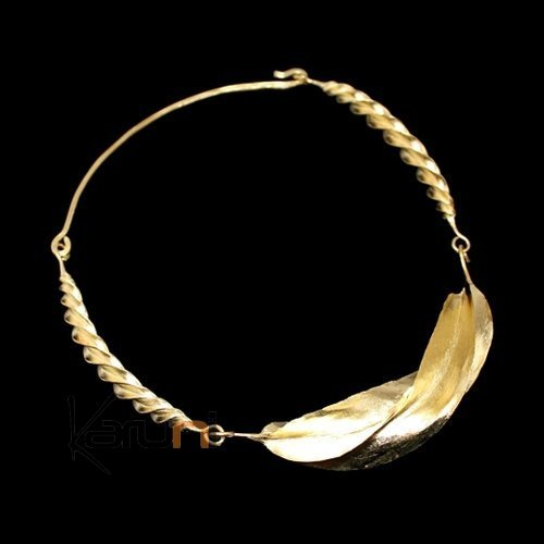 Ethnic African Jewelry Chocker Necklace Bronze Fulani Tribe 3 Leaves Twist Large Design KARUNI
