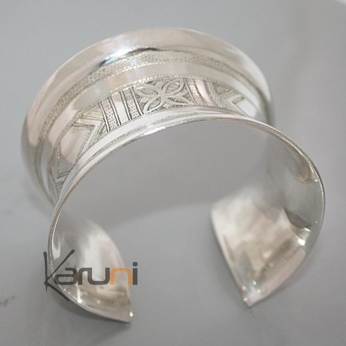 Ethnic Cuff Bracelet Sterling Silver Concave Jewelry Engraved Tuareg Tribe Design 06