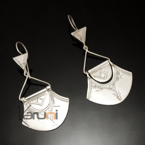 Ethnic Earrings Sterling Silver Jewelry Engraved Fan Tuareg Tribe Design 62