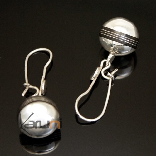 Ethnic Earrings Sterling Silver Jewelry Beads Ebony Lines Tuareg Tribe Design KARUNI Inspired 86