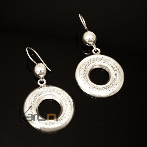 Tuareg Ethnic Jewelry Deep Engraved Round Silver Earrings 03