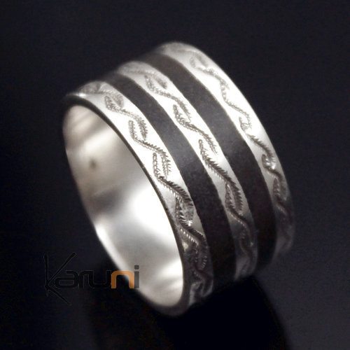 Ethnic Engagement Ring Wedding Jewelry Sterling Silver Ebony Engraved Strips 3 Men/Women Tuareg Tribe Design KARUNI