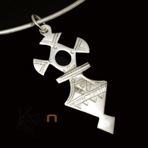 African Southern Cross Necklace Pendant Sterling Silver Ethnic Jewelry from Takadea Niger Tuareg Tribe Design 01