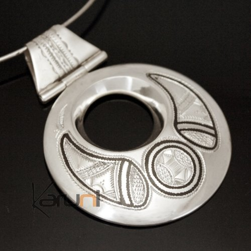 African Necklace Pendant Sterling Silver Ethnic Jewelry Big Engraved Round Tuareg Tribe Design 08