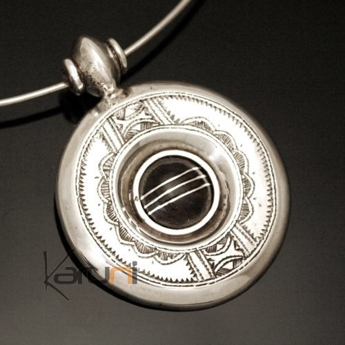 African Necklace Pendant Sterling Silver Ethnic Jewelry Ebony Engraved Round Tuareg Tribe Design 01
