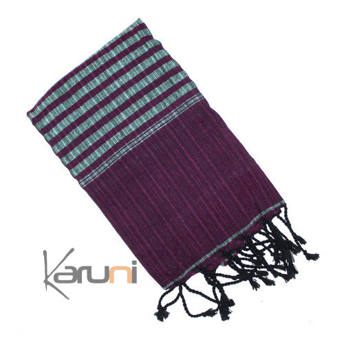 Scarf Stole Krama Cotton Cambodia Design Men/Women Strips Stripped Kim Sarany Shop Purple Aqua Green 160x48 cm