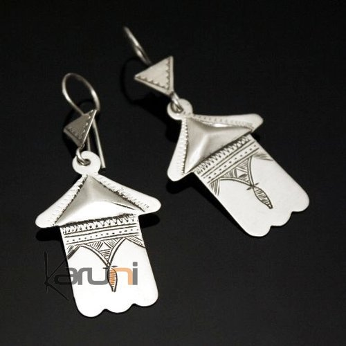 Ethnic Earrings Sterling Silver Jewelry Fatma Hand Berber Tuareg Tribe Design 74